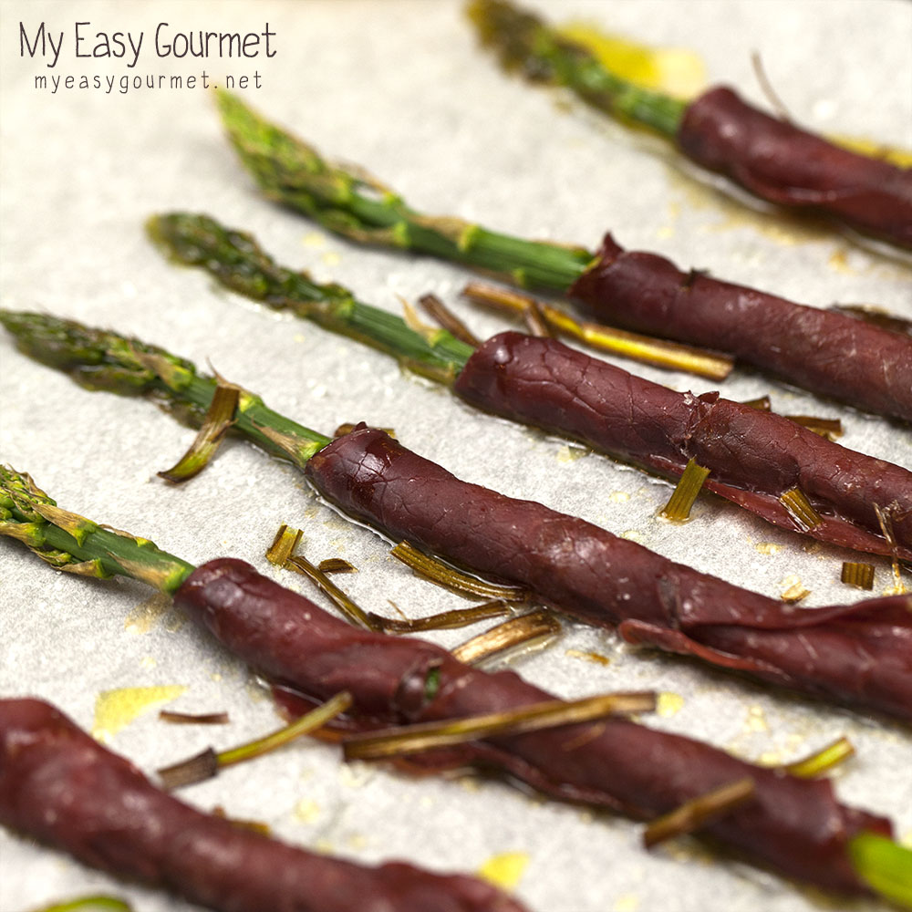 Asparagus wrapped in bresaola