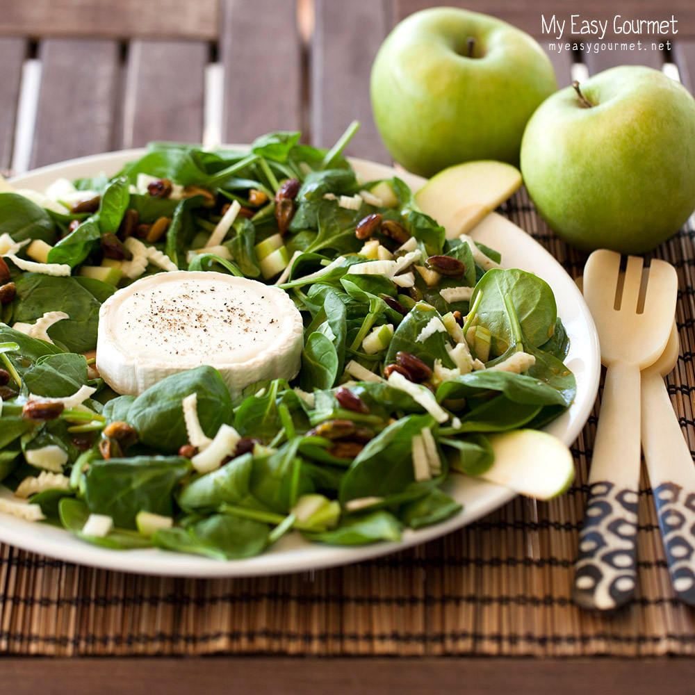 Baby spinach and goat cheese salad