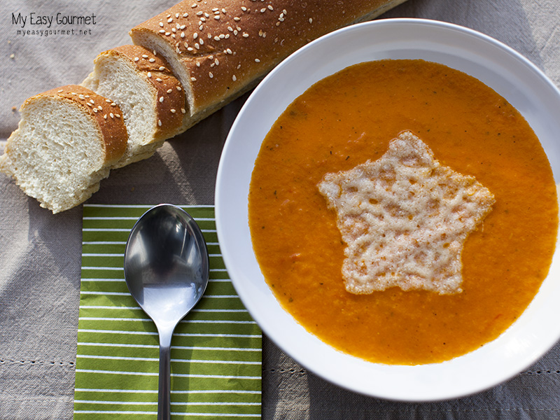 Tomato soup with parmesan crisp