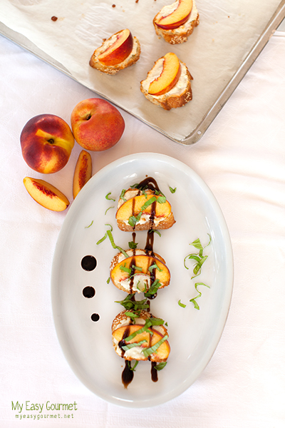 Peach and Feta Crostini