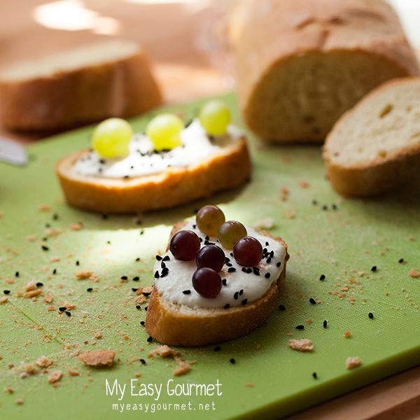 Grapes and Feta Crostini