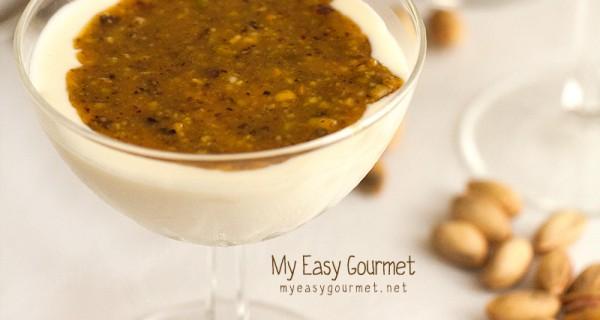 Mastic Panna Cotta with pistachio-honey syrup