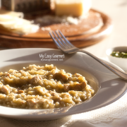 Chicken Risotto with Arugula Pesto