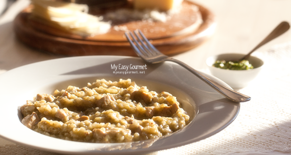 Chicken Risotto with Arugula Pesto