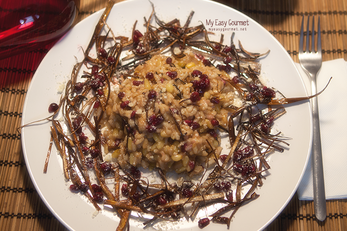 Crispy leek risotto with pine nuts and pomegranate