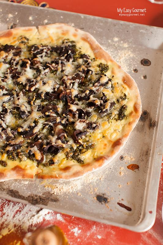 Pesto Pizza with Porcini and Haloumi cheese