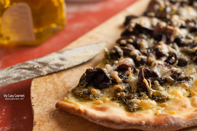 Pesto Pizza with Porcini and Haloumi cheese