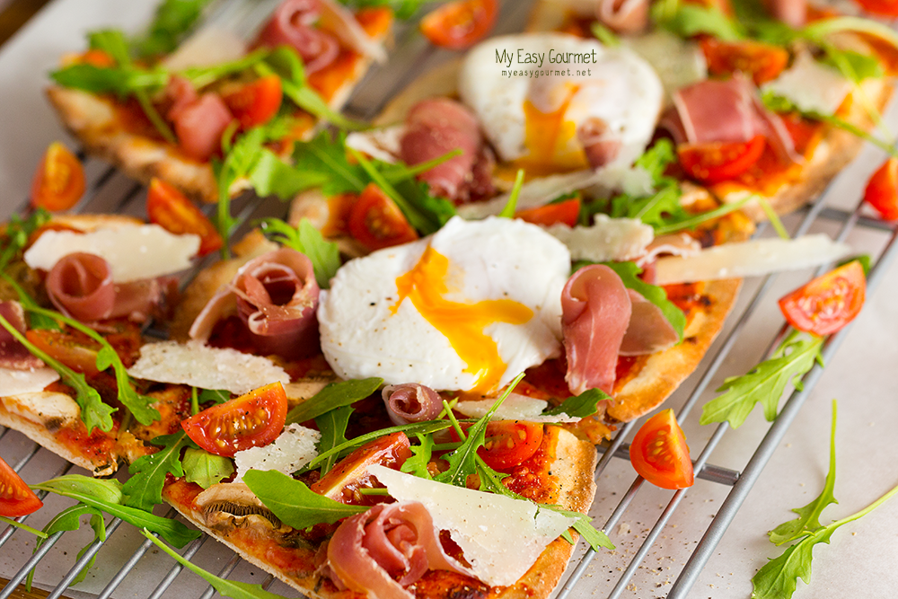 Thin-Crust Pizza with Poached Eggs, brunching in style