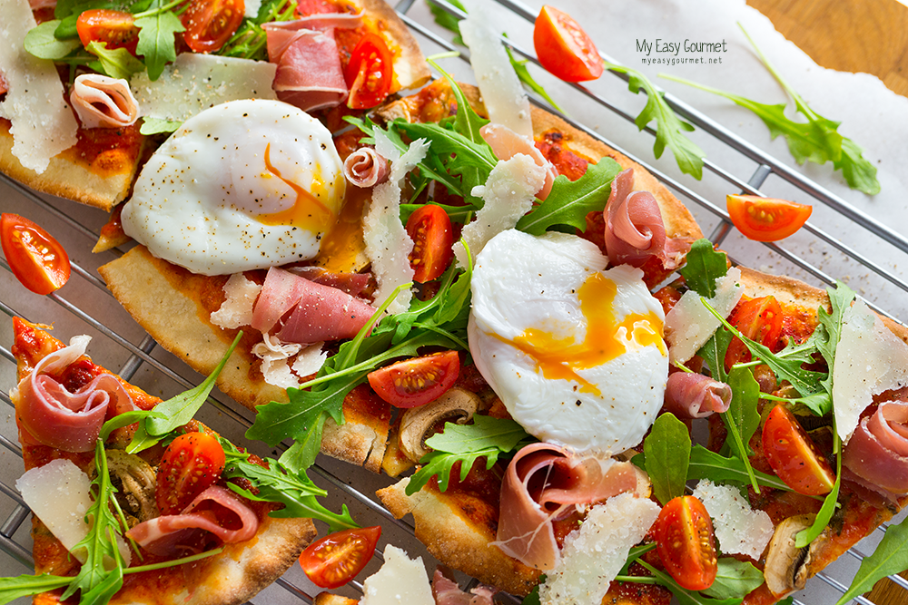 Thin-Crust Pizza with Poached Eggs, brunching is style