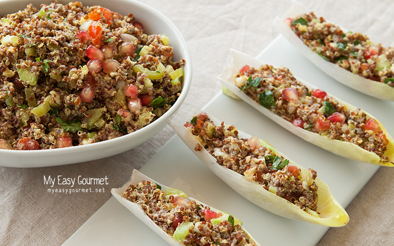 Quinoa boat, quinoa mix in endive leaves